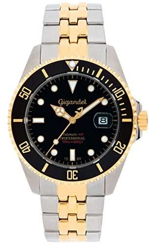 Gigandet Automatik Herren-Armbanduhr Sea Ground Taucheruhr Uhr Datum Analog Edelstahlarmband Schwarz Gold G2-016