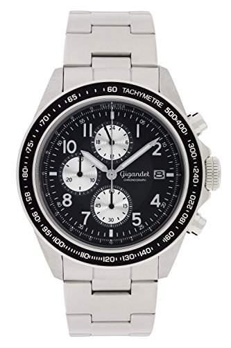 Gigandet Racetrack Herren Quarz Armbanduhr Chronograph Analog Datum Silber Schwarz G24-001