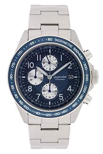 Gigandet Racetrack Herren Quarz Armbanduhr Chronograph Analog Datum Silber Blau G24-004