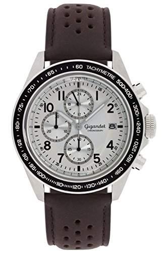 Gigandet Racetrack Herren Quarz Armbanduhr Chronograph Analog Datum Braun Silber G24-008