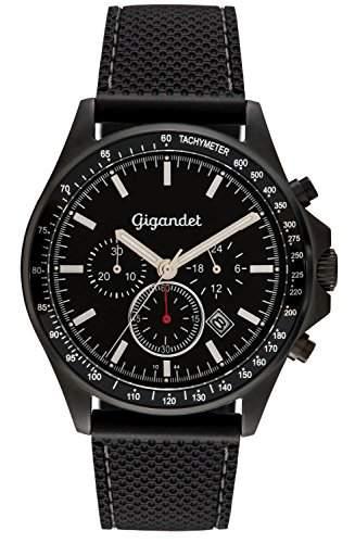 Gigandet Herrenuhr VOLANTE Chronograph Edelstahlgehaeuse schwarzes Zifferblatt Datumsanzeige Silikonarmband G3-009
