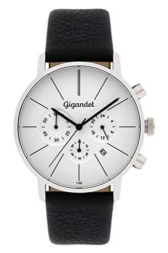 "Gigandet Herren-Armbanduhr ""Minimalism"" Lederarmband Silber Schwarz G32-001"