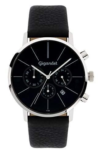 Gigandet Herren-Armbanduhr Minimalism Lederarmband Schwarz G32-002