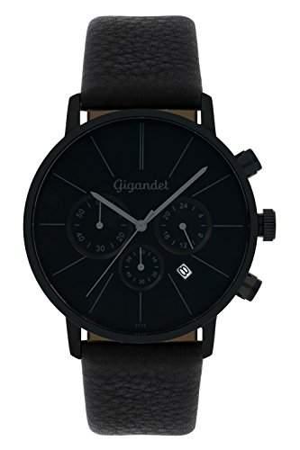 Gigandet Herren-Armbanduhr Minimalism Quarz Chronograph Uhr Datum Analog Lederarmband Schwarz G32-004