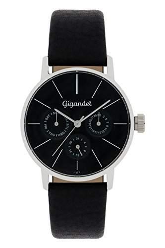 Gigandet Damen-Armbanduhr Minimalism Quarz Multifunktion Uhr Datum Analog Lederarmband Schwarz G38-002