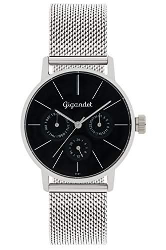 Gigandet Damen-Armbanduhr Minimalism Quarz Multifunktion Uhr Datum Analog Edelstahlarmband Schwarz Silber G38-006