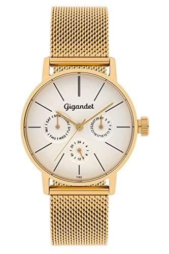Gigandet Damen-Armbanduhr Minimalism Quarz Multifunktion Uhr Datum Analog Edelstahlarmband Gold Silber G38-007