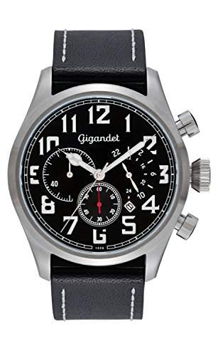 Gigandet INTERCEPTOR Herren Quarz Chronograph - Armbanduhr mit analoger Anzeige - 100m10atm wasserdicht mit Datumsanzeige, schwarzem Lederarmband und schwarzem Zifferblatt - G4-001
