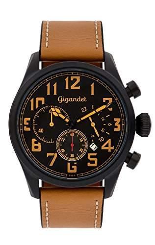 Gigandet INTERCEPTOR Herren Quarz Chronograph - Armbanduhr mit analoger Anzeige - 100m10atm wasserdicht mit Datumsanzeige, braunem Lederarmband und schwarzem Zifferblatt - G4-005