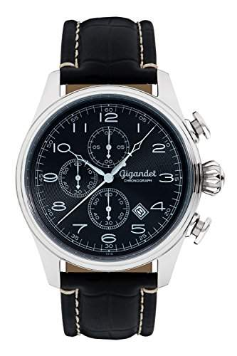 Gigandet TIMELESS Herren Armbanduhr Chronograph Analog Quarz Schwarz Silber G41-002