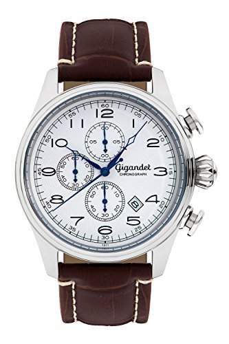 Gigandet TIMELESS Herren Armbanduhr Chronograph Analog Quarz Braun Weiss G41-003
