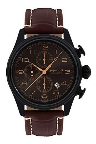 Gigandet TIMELESS Herren Armbanduhr Chronograph Analog Quarz Schwarz Braun G41-005