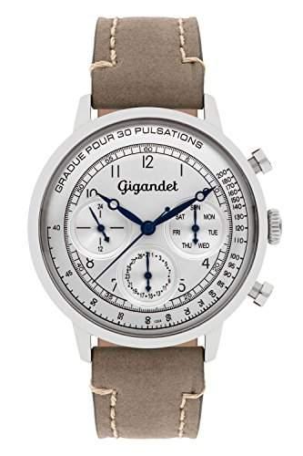 Gigandet PULSATION Vintage Herren Armbanduhr Multifunktion Analog Quarz Grau Silber G45-002