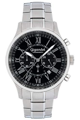 Gigandet VERNISSAGE Herren Armbanduhr Chronograph Analog Quarz Silber Schwarz G47-002