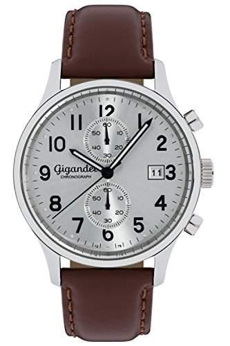 Gigandet SKYSCRAPER Herren Armbanduhr Chronograph Analog Quarz Silber Braun G49-002