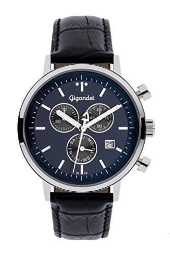 Gigandet CLASSICO Herren Chronograph - Armbanduhr mit Datumsanzeige und schwarzem Lederarmband - 50m5bar wasserdicht - Blaues Zifferblatt - G6-010