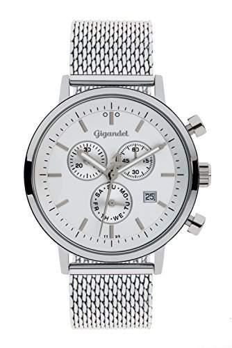 Gigandet CLASSICO HerrenDamen Armbanduhr Chronograph Analog Quarz Silber Weiss G6-011