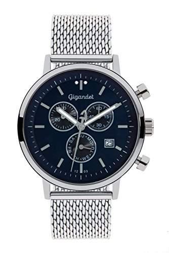 Gigandet CLASSICO HerrenDamen Armbanduhr Chronograph Analog Quarz Silber Blau G6-013
