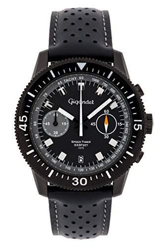 Gigandet Speed Timer Vintage Herren Chronograph - Armbanduhr mit Datumsanzeige und Lederarmband - Schwarzes Zifferblatt - G7-007