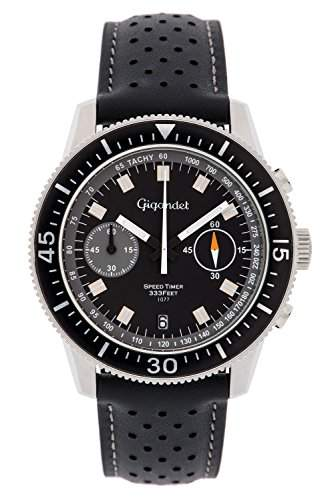 Gigandet Speed Timer Vintage Herren Chronograph - Armbanduhr mit Datumsanzeige und Lederarmband - Schwarzes Zifferblatt - G7-009