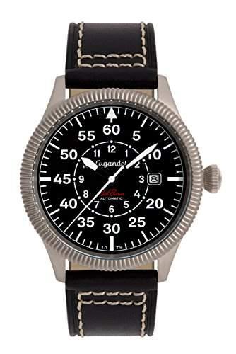 Gigandet Red Baron I Herren Automatik Fliegeruhr - Armbanduhr mit analoger Anzeige - 100m10atm wasserdicht mit Datumsanzeige, schwarzem Lederarmband und schwarzem Zifferblatt - G8-005