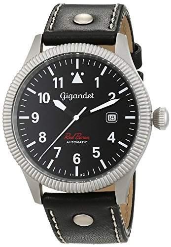 Gigandet Red Baron I Herren Automatik Fliegeruhr - Armbanduhr mit analoger Anzeige - 100m10atm wasserdicht mit Datumsanzeige, schwarzem Lederarmband und schwarzem Zifferblatt - G8-007