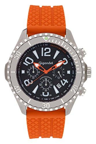 Gigandet Aquazone Quarz Uhr Chronograph Taucheruhr Analog Silikonarmband Edelstahl Datum Orange Schwarz G23 005