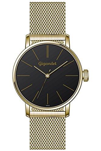 Gigandet Minimalism Quarz Uhr Analog Milanaise Edelstahlarmband Gold Schwarz G43 023