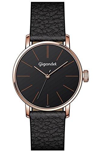Gigandet Minimalism Quarz Uhr Analog Lederarmband Rotgold Schwarz G43 018