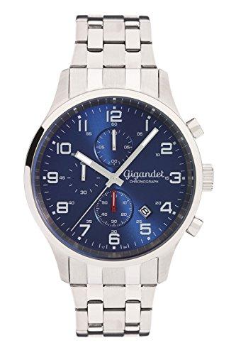 Gigandet Herren Armbanduhr Red Touch Edelstahlarmband Blau Silber G51 005