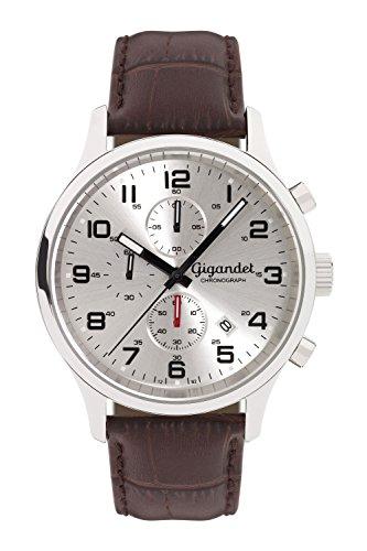 Gigandet Herren Armbanduhr Red Touch Lederarmband Silber Braun G51 003