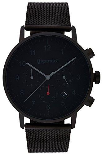 Gigandet Quarz Herren Armbanduhr Minimalism II Dualzeit Uhr Datum Analog Milanaise Edelstahlarmband Schwarz Grau G21 007