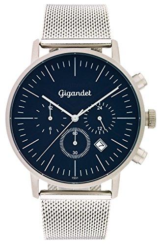 Gigandet Quarz Herren Armbanduhr Minimalism III Dualzeit Uhr Datum Analog Milanaise Edelstahlarmband Silber Blau G22 005