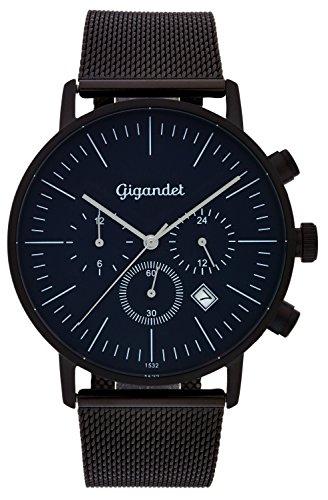 Gigandet Quarz Minimalism III Dualzeit Uhr Datum Analog Milanaise Edelstahlarmband Schwarz Blau G22 006