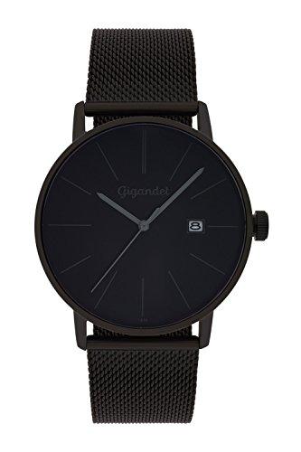 Gigandet Herren Armbanduhr Minimalism Quarz Uhr Analog Milanaise Edelstahlarmband Schwarz G42 007