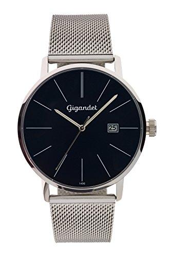 Gigandet Herren Armbanduhr Minimalism Quarz Uhr Analog Milanaise Edelstahlarmband Silber Blau G42 014