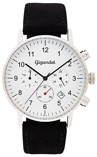 Gigandet Quarz Minimalism II Dualzeit Uhr Datum Analog Lederarmband Silber Schwarz G21 001