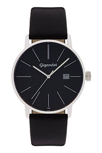 Gigandet Herren Armbanduhr Minimalism Quarz Uhr Analog Lederarmband Schwarz G42 002