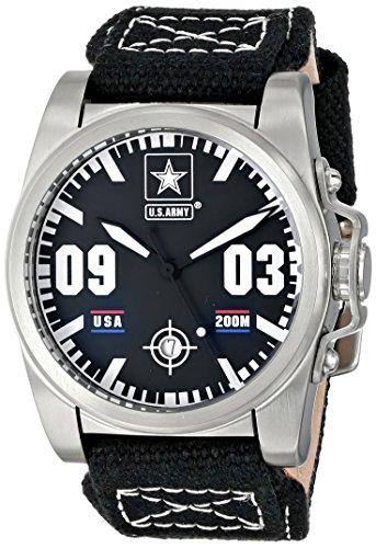 U S ARMY Wrist Armor 37WA020001A Herren Nylon Leder Armband Military Uhr schwarz