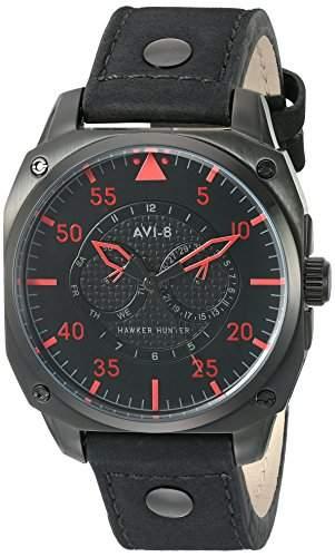 AVI-8 Herren AV-4009-03 Hawker Hunter Analog Japanese-Quartz Black Armbanduhr