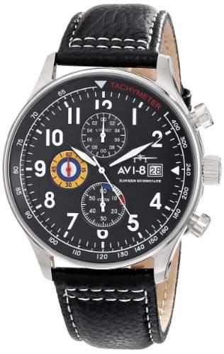 AVI-8 Herren AV-4011-02 Hawker Hurricane Analog Japanese-Quartz Black Armbanduhr