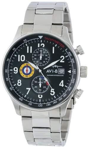 AVI-8 Herren AV-4011-12 Hawker Hurricane Analog Japanese-Quartz Silver Armbanduhr
