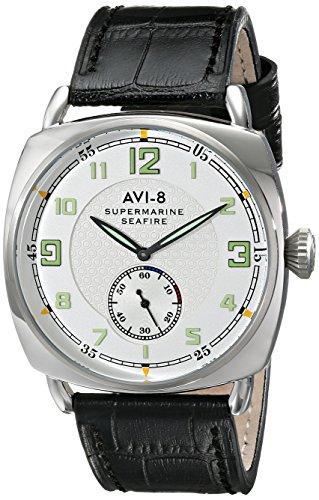 avi 8 32 Supermarine Seafire Herren Schwarz Echt Leder Armbanduhr av 4033 01