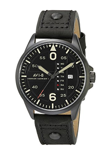 avi 8 Herren av 4003 07 Hawker Harrier II Analog Display Japanisches Quartz Black Watch
