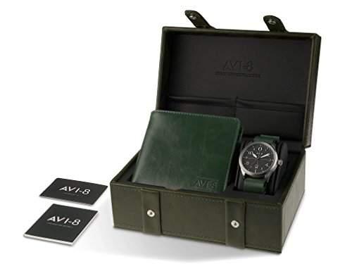 AVI-8 Uhr- und Brieftaschenset in blau mit Herrenquarzuhr mit schwarzem analogen Zifferblatt und blauem Lederarmband AV-SET2-05 AV-4028-05