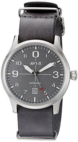 avi 8 Maennern Flyboy Japanische Automatik Edelstahl und grau Leder Aviator Uhr Modell av 4021 0B