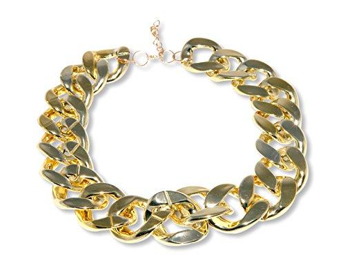 Enez XXL Damen Kette Halskette Blogger Necklace Choker Collier B 3cm L 45cm R763a