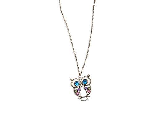 Enez XXL Damen Kette Halskette Blogger Necklace Spike Choker Collier Eule 75cm R614b