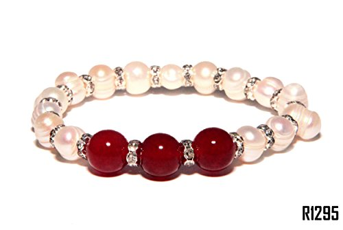 Enez Echt Suesswasser Zucht Perlenkette Armband Armkette Armreifen R1295