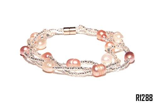 Enez Echt Suesswasser Zucht Perlenkette Armband Armkette 18cm Magnetverschluss R1288